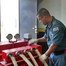 Teste hidrostático mangueiras de hidrante
